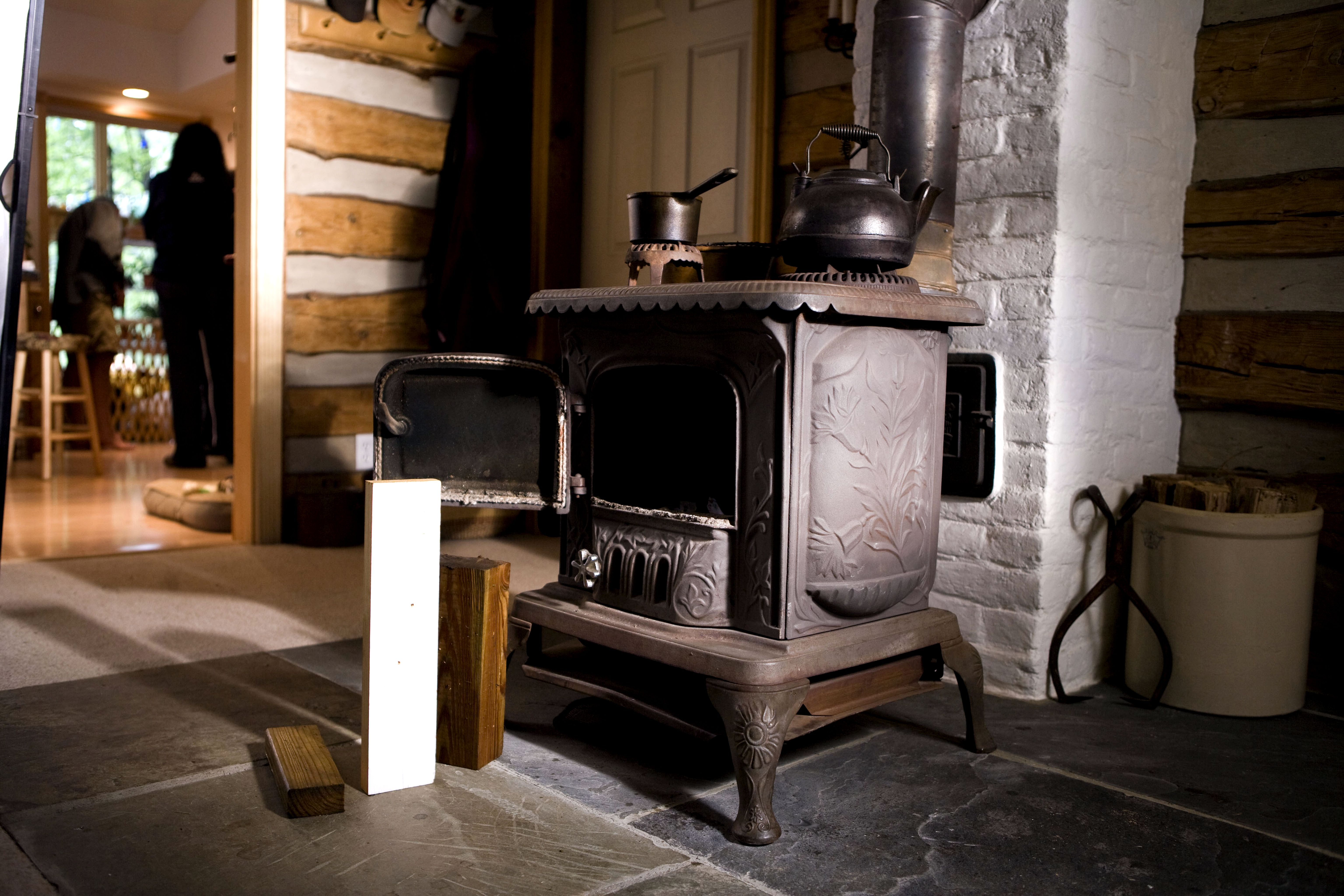 Free Picture Unique Old Cast Iron Stove Wood Coal Room