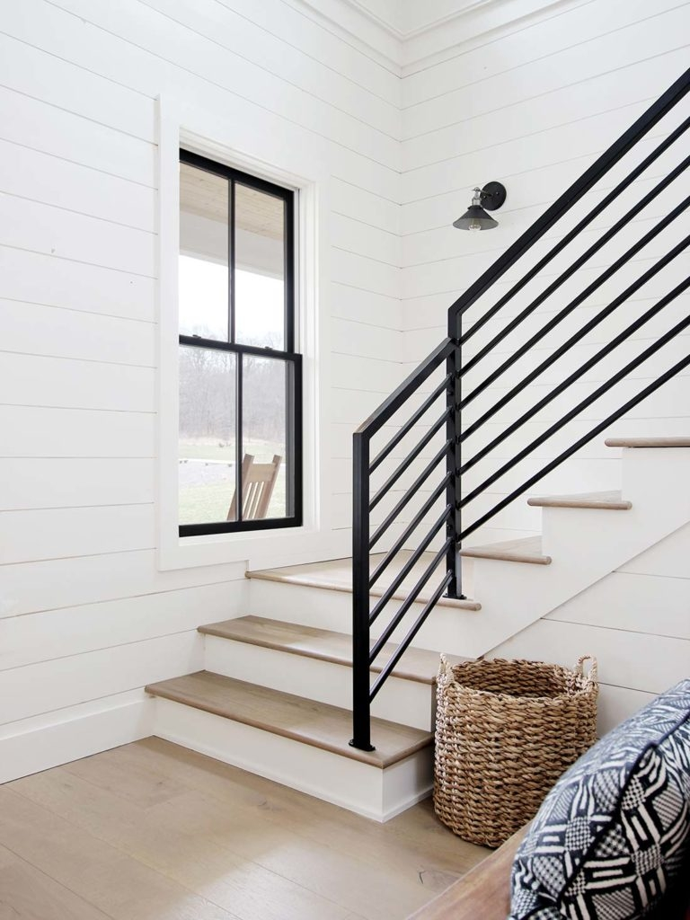 All The Details On Our Industrial Metal Stair Railing Plank And   Diy Farmhouse Stair Railing   Country Style   U Shaped   Horizontal Bar   Upcycled   Low Cost
