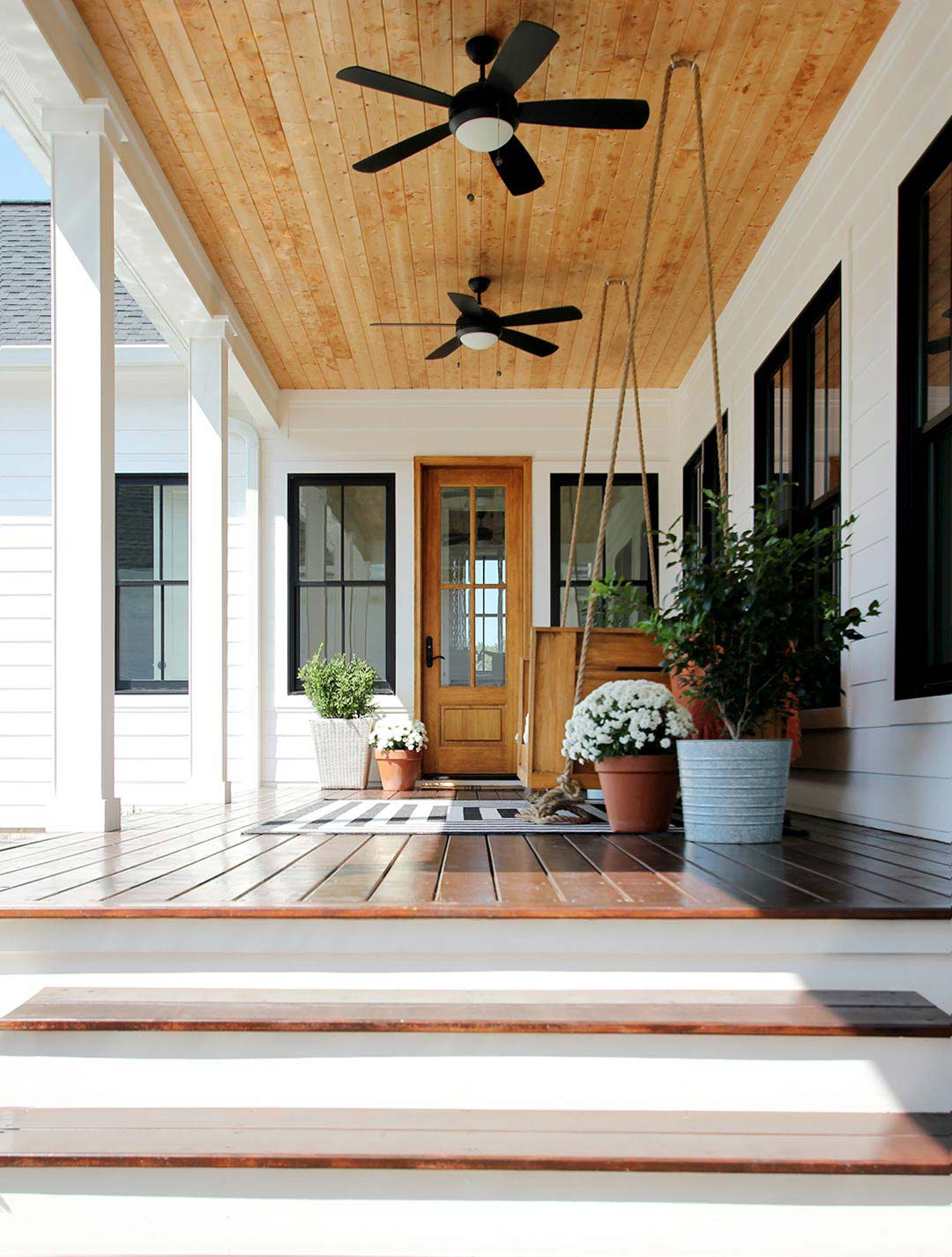 White Wicker Porch Swing