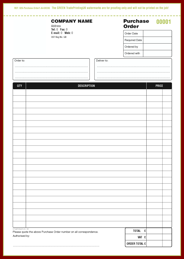 Book Order Form Template Word
