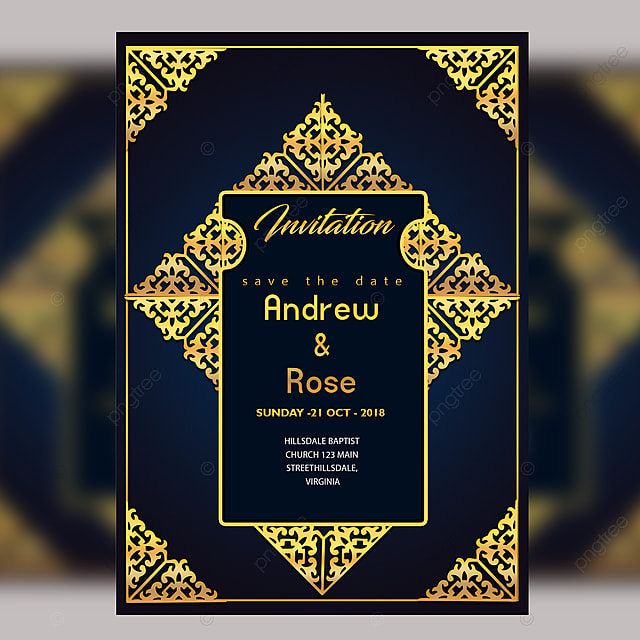 Wedding Invitation Card Design Template With Gold Floral Frame Royal Border Template For Free