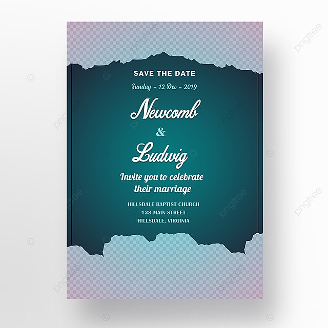 Wedding Invitation Card Template With White Flowers And Teal Gradient Background Template For