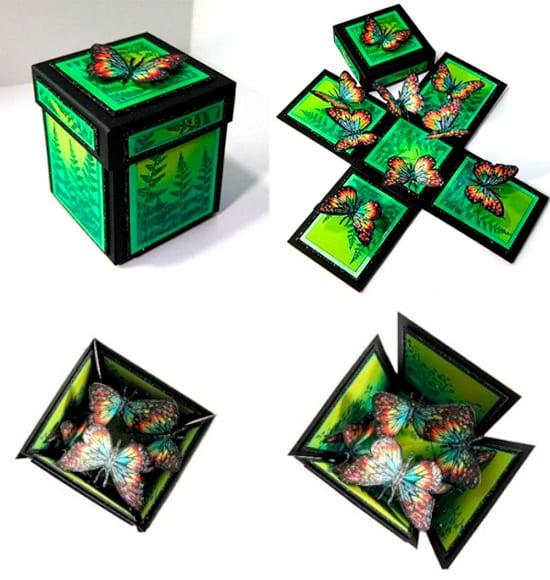 Χαρτί κουτί με πεταλούδες στο εσωτερικό