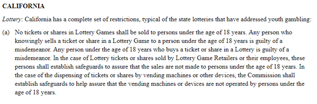Excerpt from California state restrictions on playing lottery games