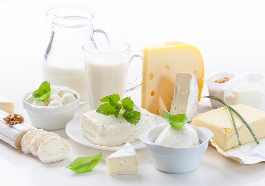 Assortment of dairy products on white background