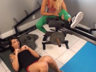 Cindee and Angel Gym Footjob