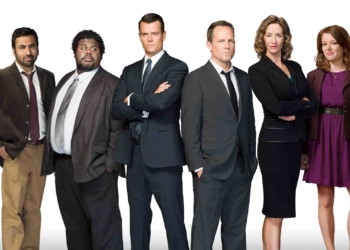 BATTLE CREEK – Season 1 – Pictured (L-R): Kal Penn as Detective Fontanelle White, Edward Fordham, Jr. as Detective Aaron Funkhauser, Josh Duhamel as Special Agent Milton Chamberlain, Dean Winters as Detective Russ Agnew, Janet McTeer as Commander Guziewicz amd Aubrey Dollar as Holly Dale.