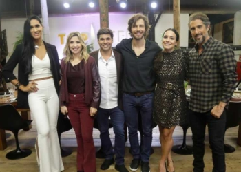 Jaque do Vôlei, Mylena Ciribelli, Felipe Bronze, André Bankoff, Juliana Knust e Marcos Mion no 'Top Chef' |