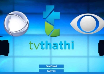 Logos das emissoras TV Thathi, Record TV e Band