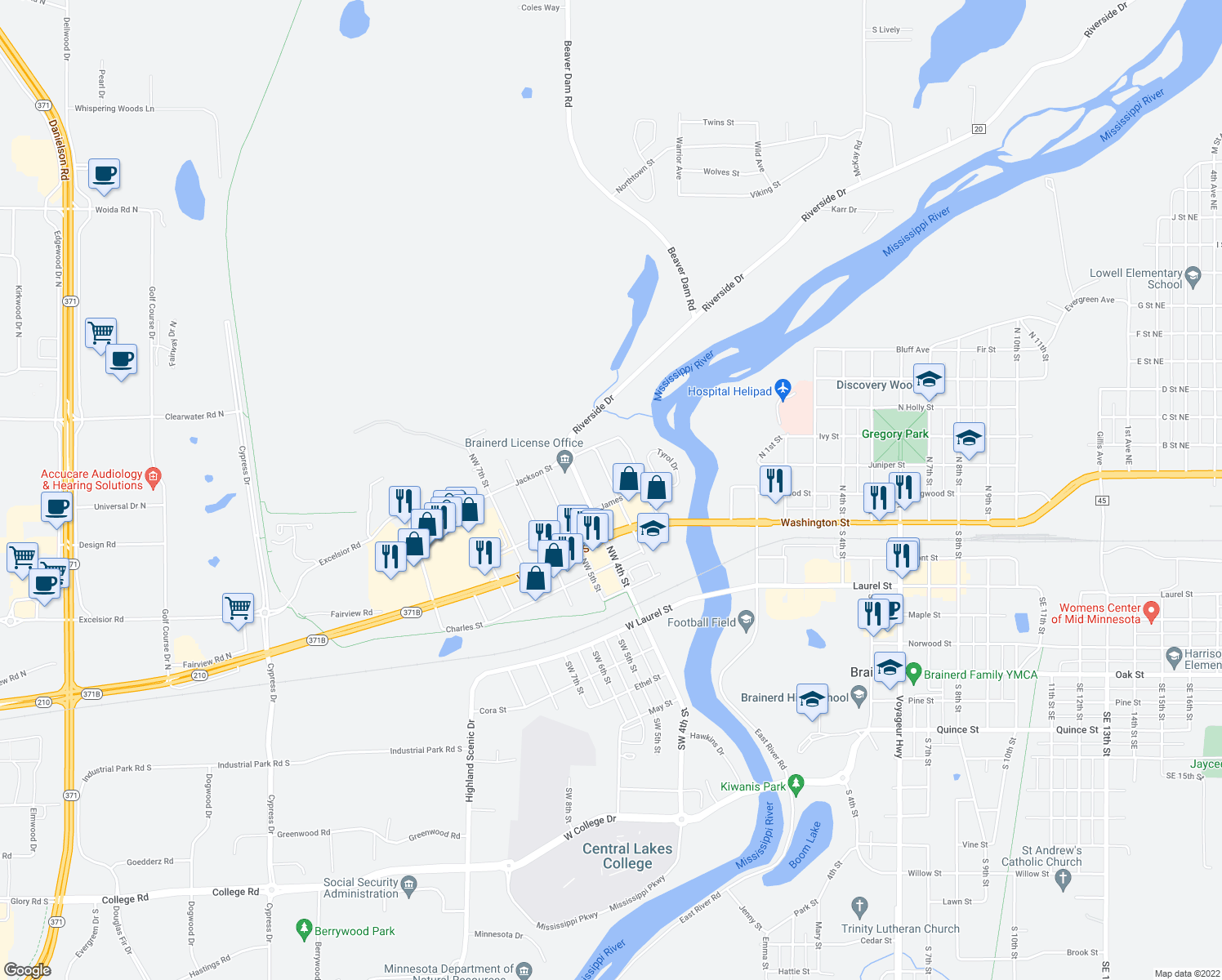310 James Street  Brainerd MN   Walk Score map of restaurants  bars  coffee shops  grocery stores  and more near 310