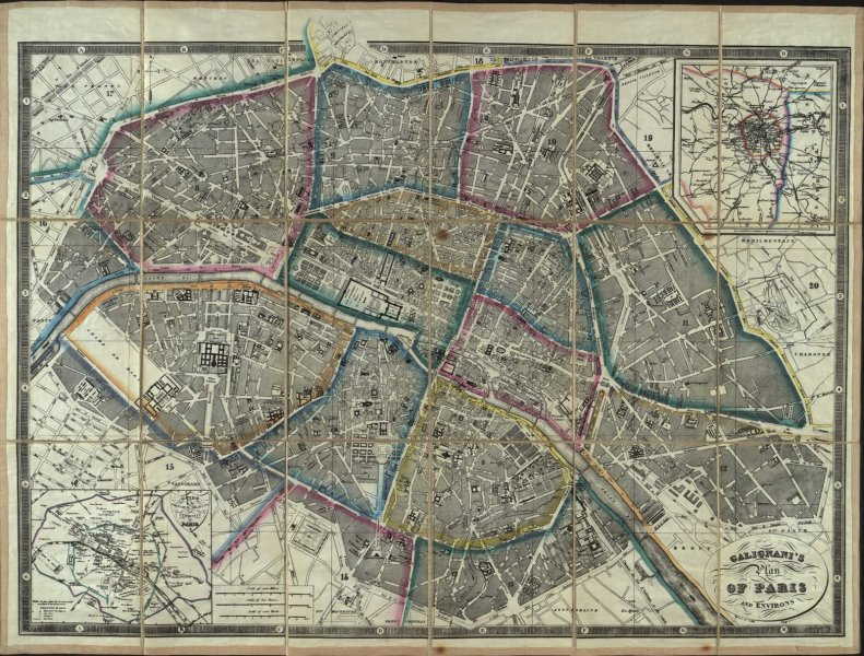 A 19thC map of Paris for English tourists   Notes For Bibliophiles A 19thC map of Paris for English tourists