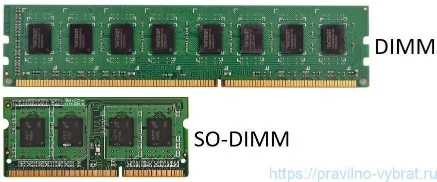Vergelijking van twee RAM-vormen: DIMM (voor pc) en SO-DIMM (voor laptop)