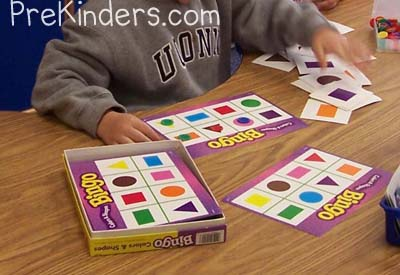Teaching Shapes in Pre K   PreKinders shape bingo game