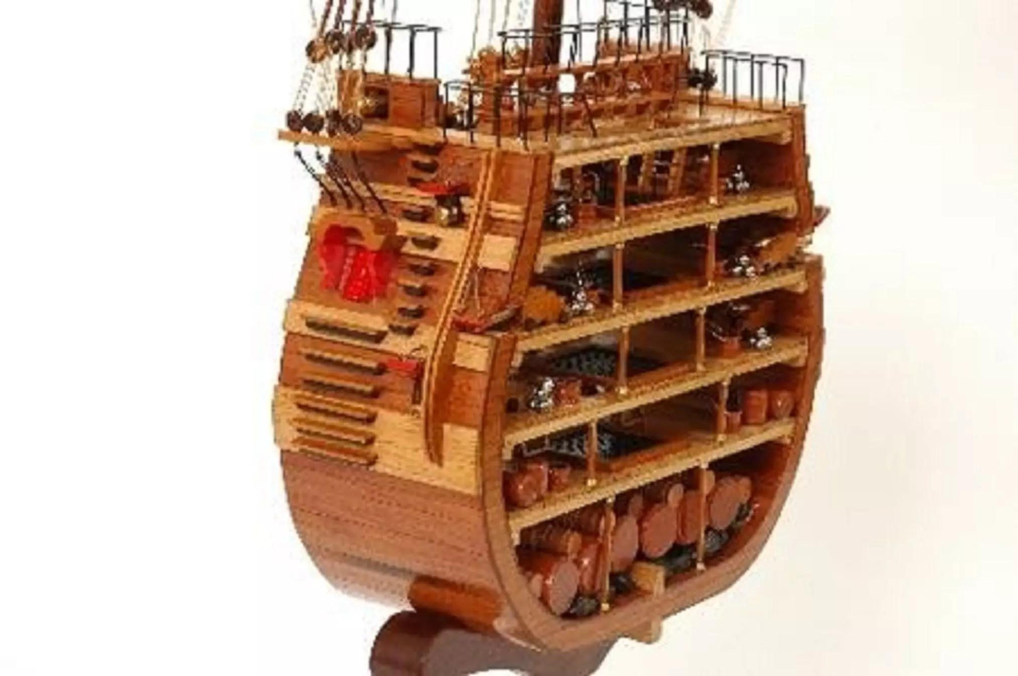 Hms Victory Cross Section Model Ship Premier Range Wooden