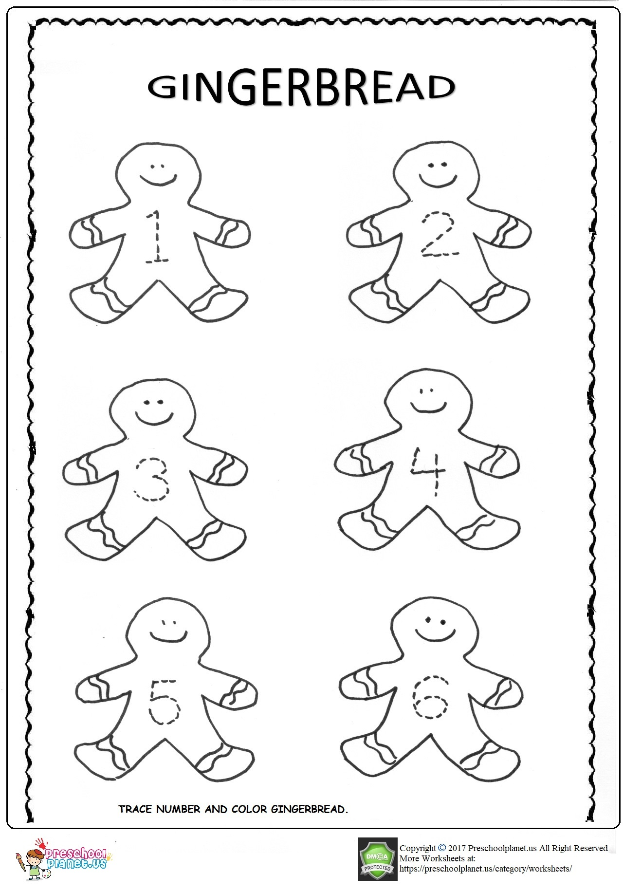 Gingerbread trace worksheets