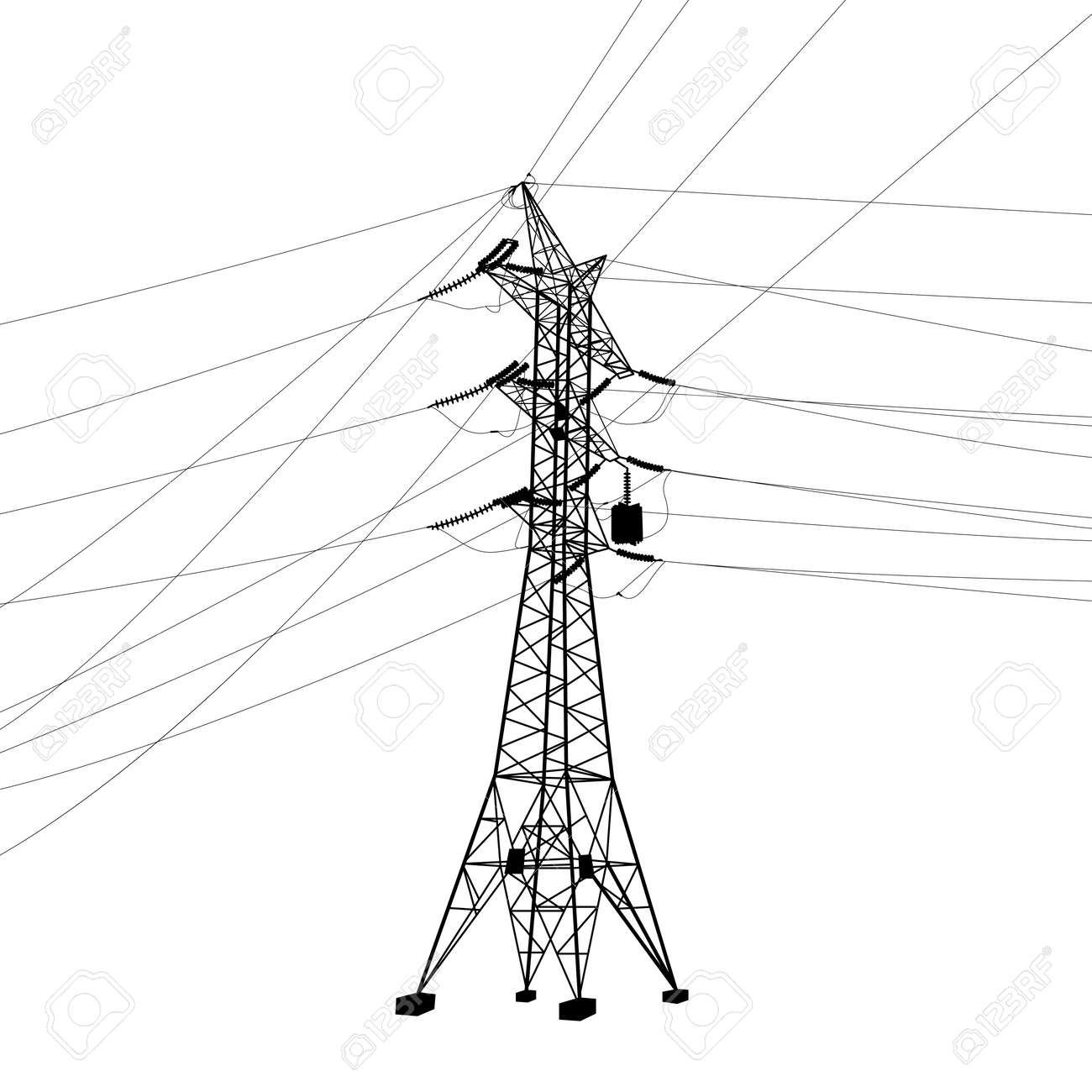 Silhouette of high voltage power lines vector illustration royalty