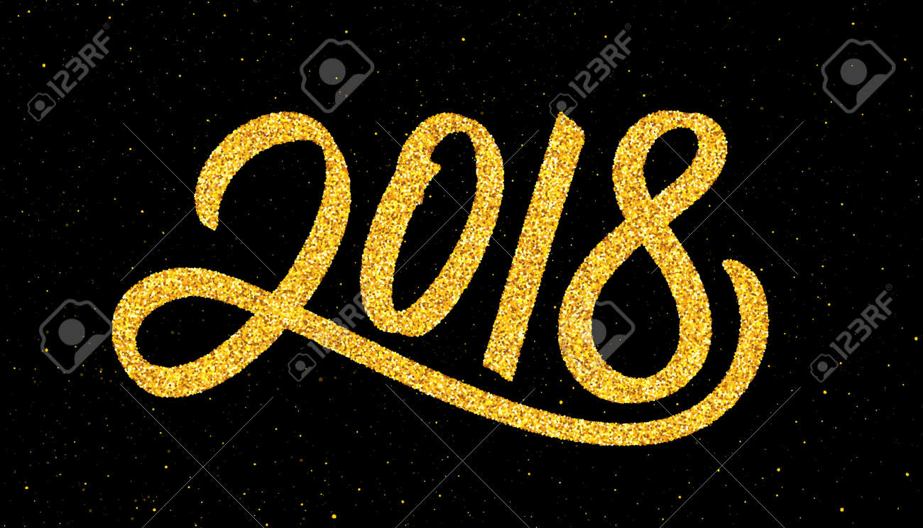 Happy New Year 2018 Greeting Card Design Template With Gold Text     Happy New Year 2018 greeting card design template with gold text on black  background  Stock