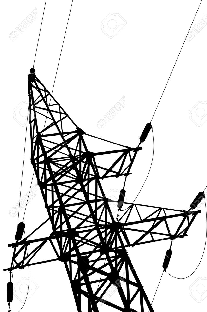 High voltage power lines and pylon vector royalty free cliparts