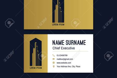 Abstract Horizontal Vector Business Card Template  Gold  Blue     Abstract horizontal vector business card template  Gold  blue  white business  card layout