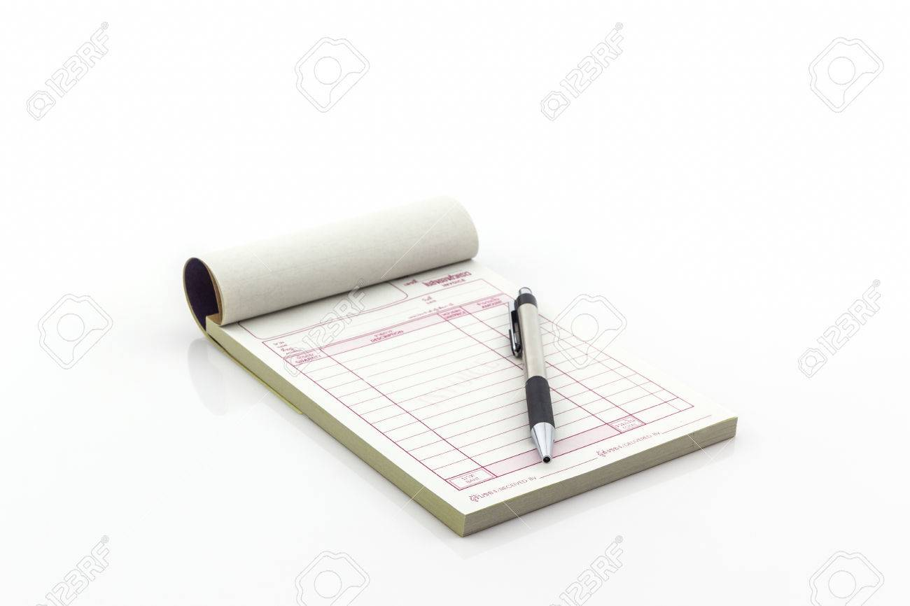 Invoice Book Which Open Blank Page With Pen On White Background     Invoice book which open blank page with pen on white background  Stock  Photo   37389943