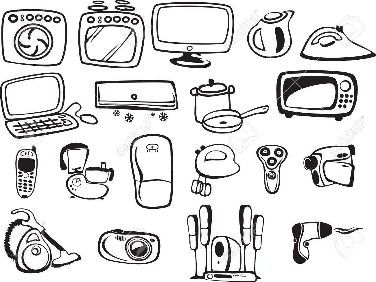 Symbols of household appliances and electronics royalty free