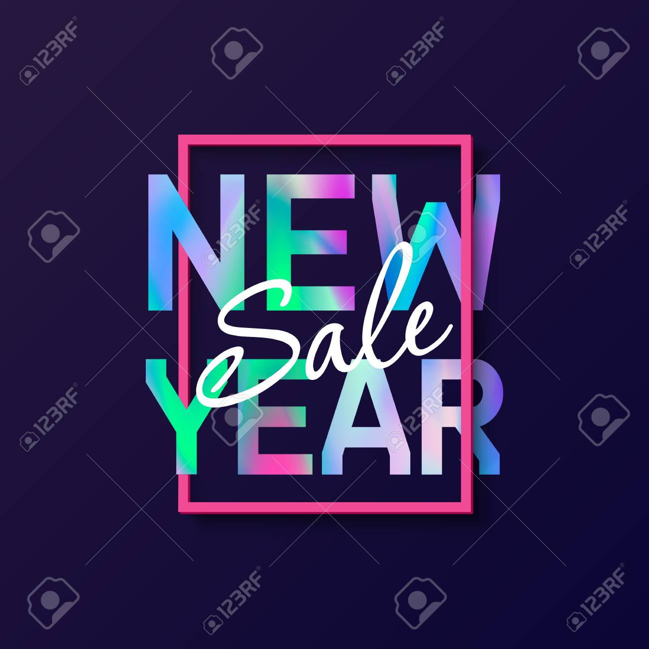 New Year 2018 Poster With Holographic Effect Text  Modern Creative     New Year 2018 Poster with holographic effect text  Modern creative concept  design for card