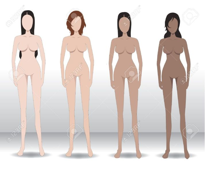 Vector Illustration Template Of Woman S Figure Front View Of     Vector   Vector illustration Template of woman s figure front view of a  standing naked woman You can use this image for fashion design and etc