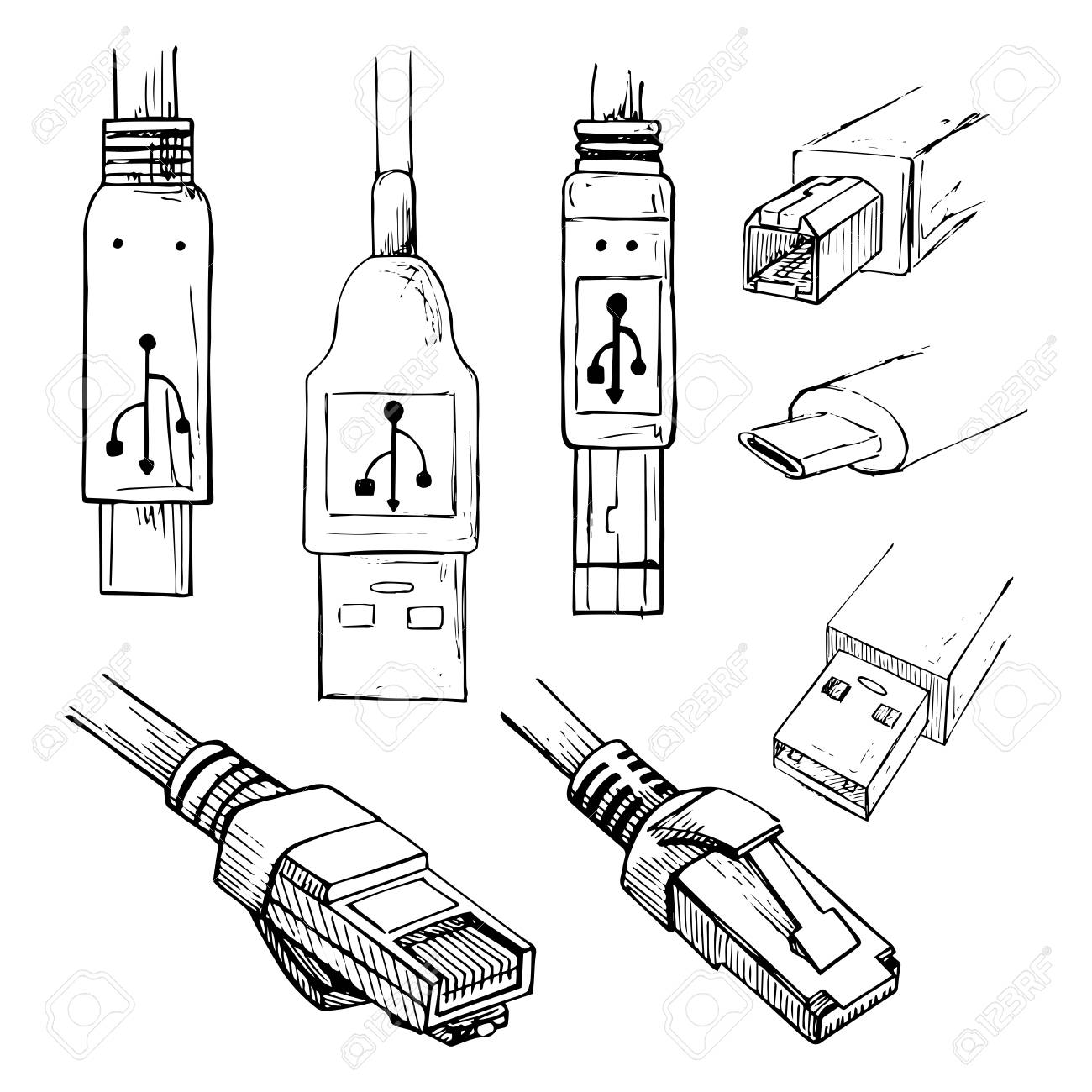 Set of data connector plug different usb types and rj45 8p8c