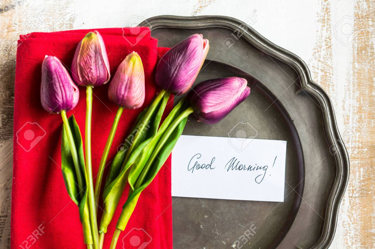 Spring Time Table Setting With Tulip Flowers And Good Morning     Spring time table setting with tulip flowers and good morning note Stock  Photo   54575757