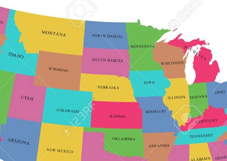 HD Decor Images » Colorful USA Map With States Royalty Free Cliparts  Vectors  And     Colorful USA map with states Stock Vector   35428304