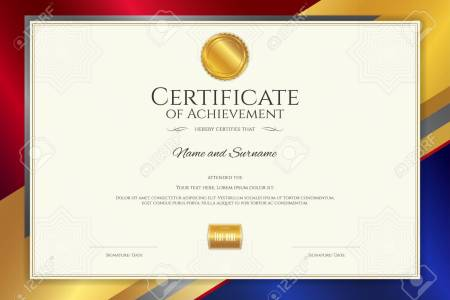 Luxury Certificate Template With Elegant Border Frame  Diploma     Luxury certificate template with elegant border frame  Diploma design for  graduation or completion Stock Vector