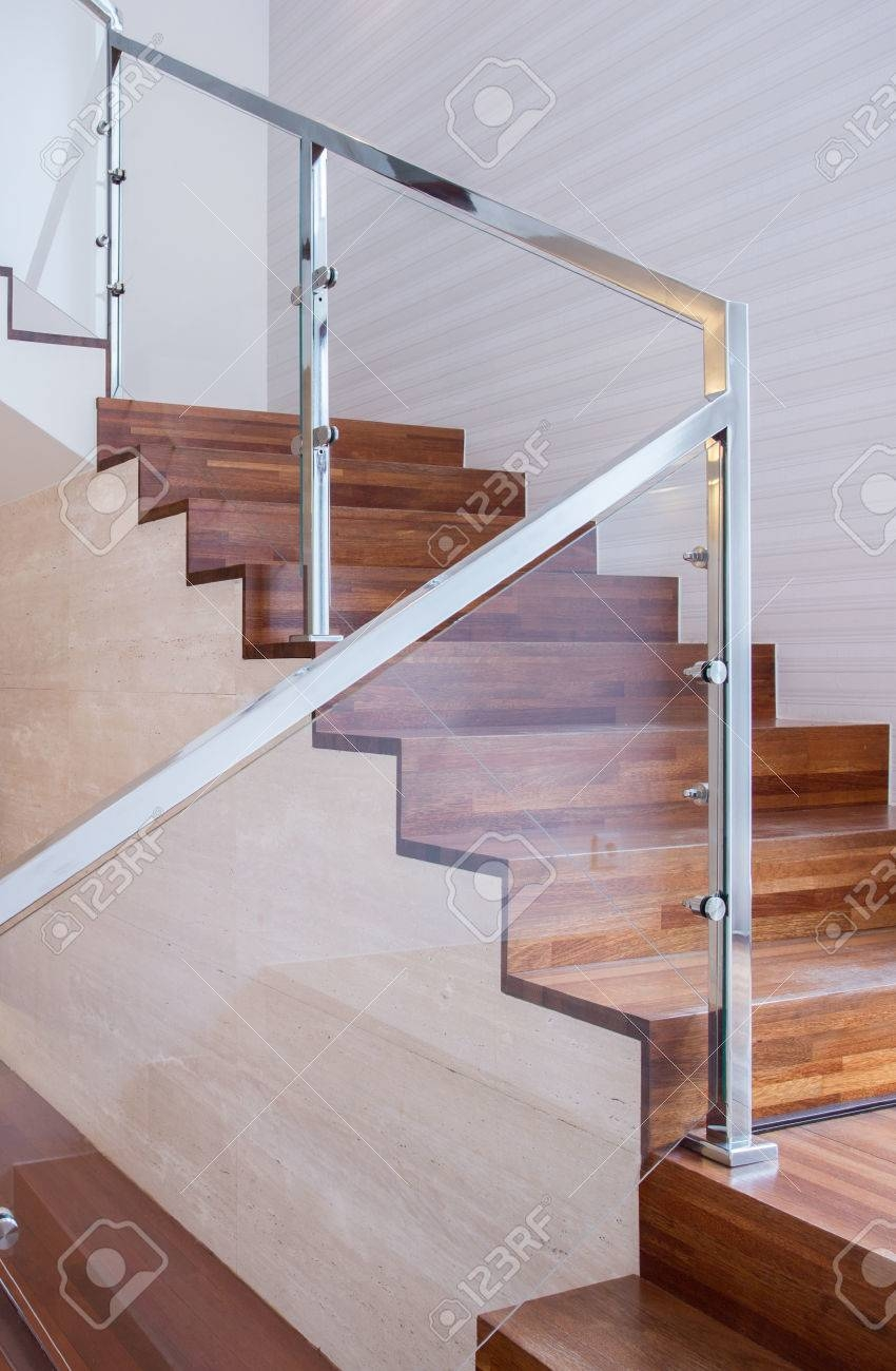 Modern Design Stairs Made Of Wood And Glass Stock Photo Picture   Stairs Made Of Wood   5 Step   Elegant   Solid Oak   Traditional   3 Step
