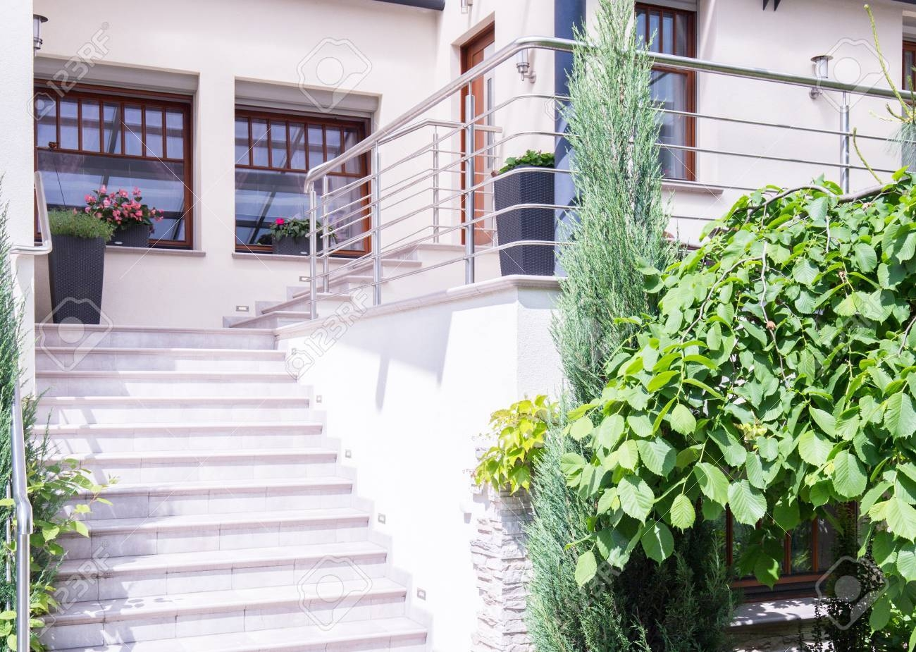 Horizontal View Of Exterior Front Stair Design Stock Photo   Front Staircase House Design   Residential   Outside   Front Jina   Home Front Valuation   Sitout