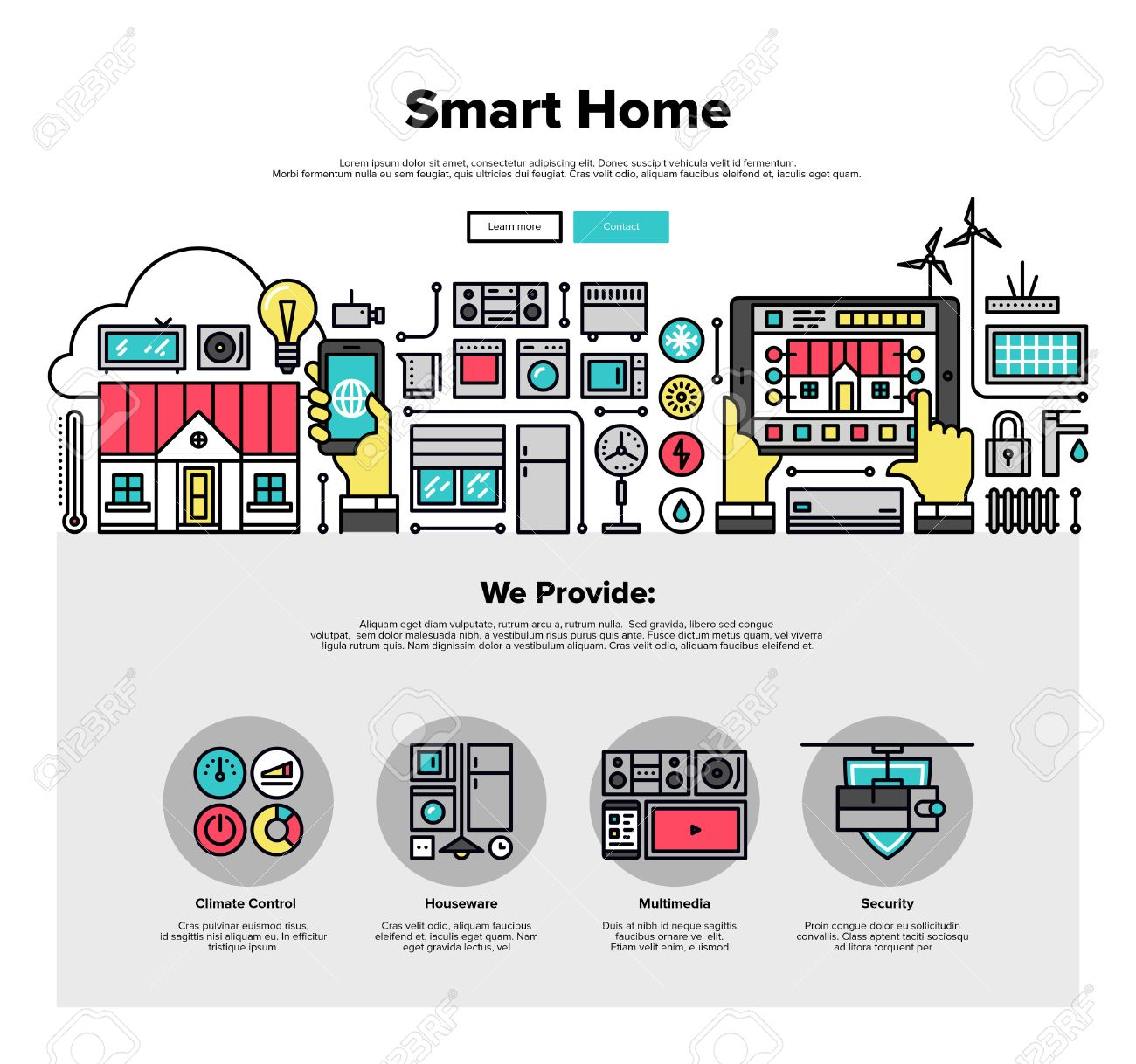Best Kitchen Gallery: One Page Web Design Template With Thin Line Icons Of Smart Home of Home Automation Design  on rachelxblog.com