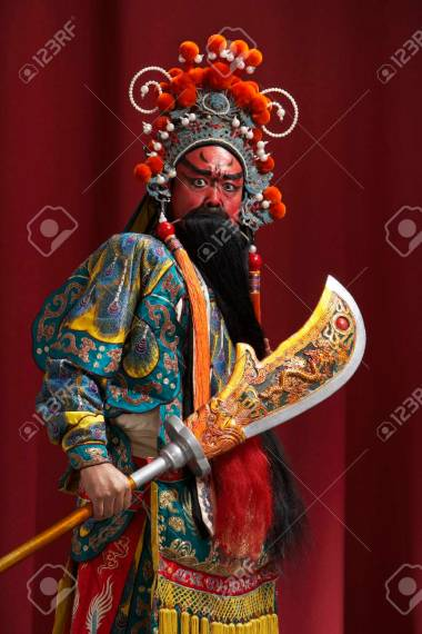 Guang Gong  Ancient Chinese General In Beijing Opera Costume     Guang Gong  Ancient Chinese General in Beijing Opera Costume  Represents  Protection and Wealth Stock