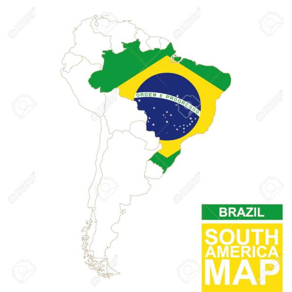 South America Contoured Map With Highlighted Brazil  Brazil Map     South America contoured map with highlighted Brazil  Brazil map and flag on South  America map