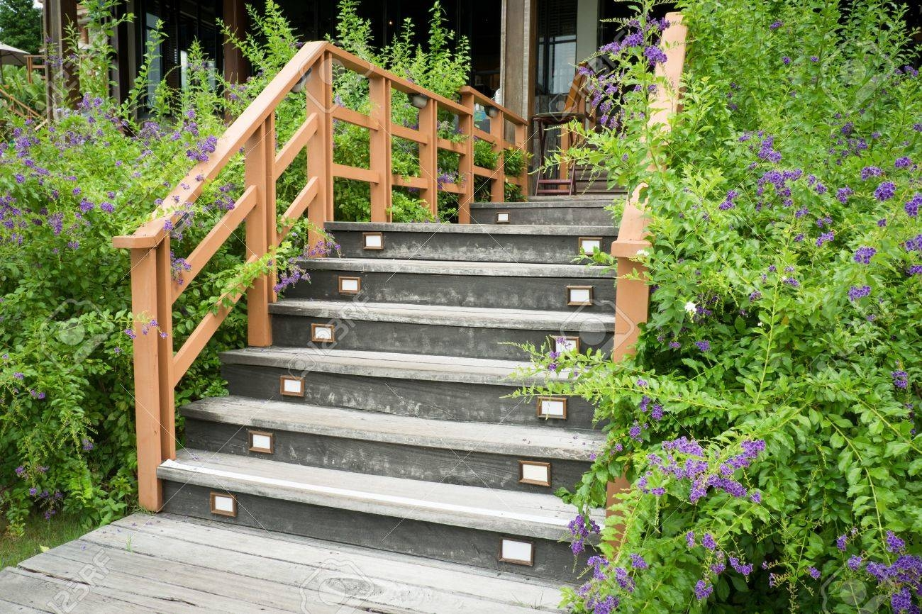 Stairs With Wooden Handrail In Garden Stock Photo Picture And | Wooden Handrail For Garden Steps | French Door Garden | Garden Stair | Landscape | Outside Step | Outdoor Near Me Step
