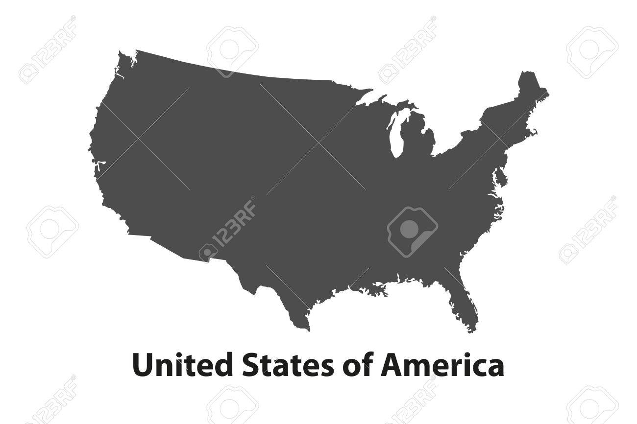 Black USA Map   Vector Illustration  Simple Flat Map   United     Black USA map   vector illustration  Simple flat map   United States  Stock  Vector