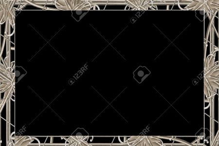 Ornament Landscape Format Frame Background With Elegant Decorative     Ornament landscape format frame background with elegant decorative borders  in noveau style in silver tones