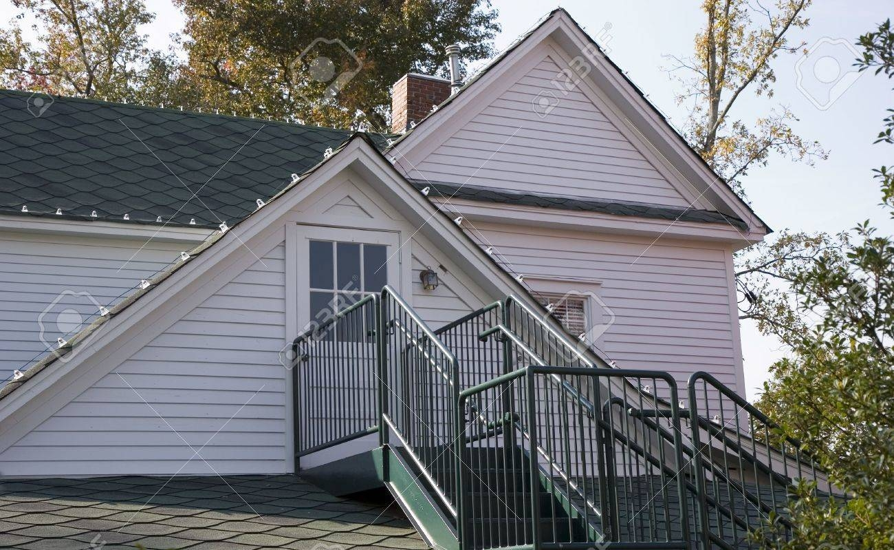 Iron Steps Leading To A Dormer Room In An Old White House Stock   Iron Steps For Home   Banister   Railing   Near Me Handrail   Manufactured Home   Mobile Home