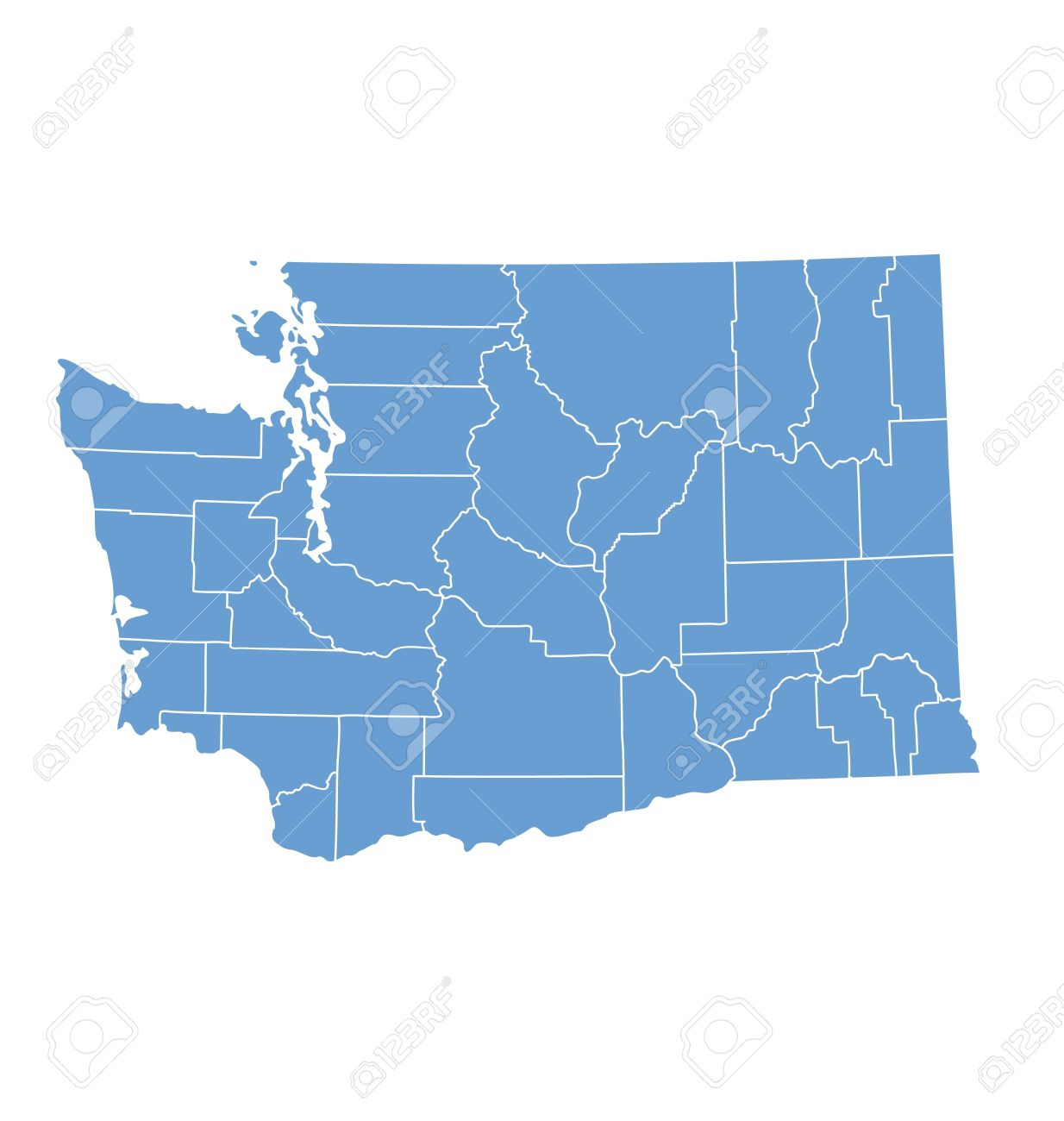 Washington State Map By Counties Royalty Free Cliparts  Vectors  And     Vector   Washington State Map by counties