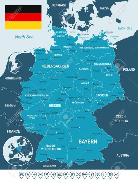 Germany Map  Flag And Navigation Labels   Illustration  Image     Germany map  flag and navigation labels   illustration  Image contains land  contours  country