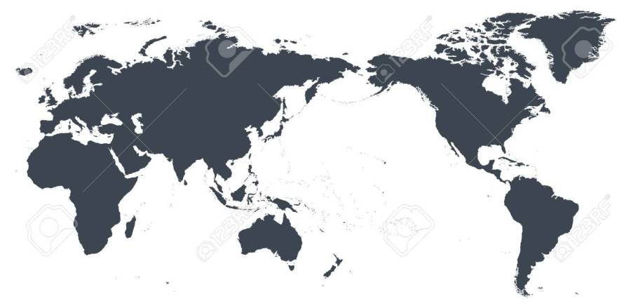 World Map Outline Contour Silhouette   Asia In Center   Vector     Vector   World Map Outline Contour Silhouette   Asia in Center   vector
