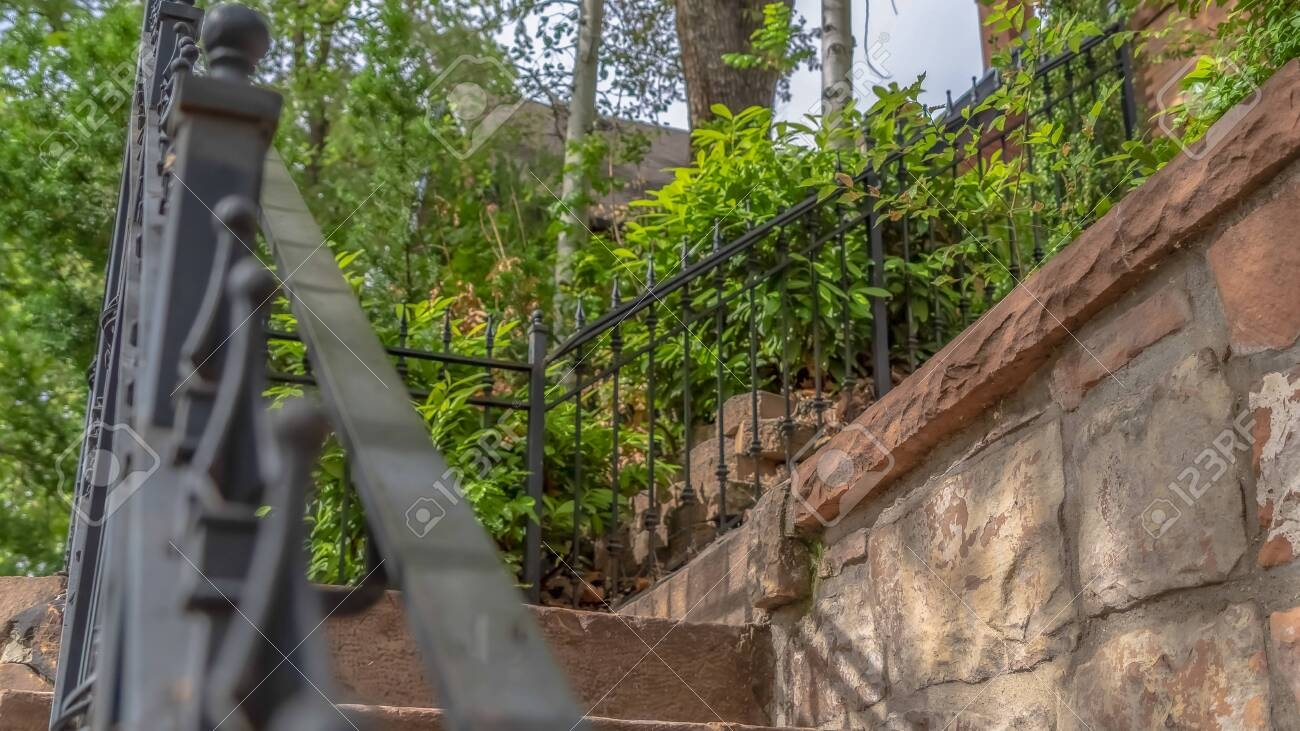 Panorama Close Up Of Outdoor Stairs With Black Metal Handrail | Metal Handrails For Outdoor Steps | Outside | Hand | Backyard | Wood | Contemporary