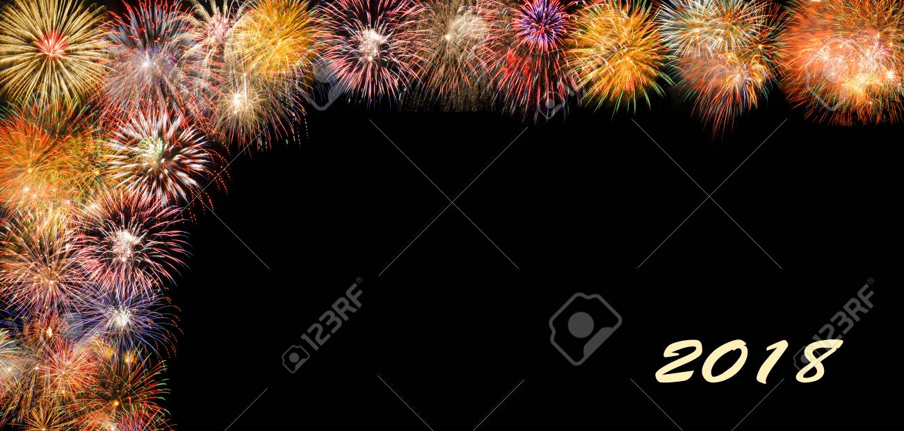 Fireworks At Silvester And New Years Eve 2018 With Border And     fireworks at silvester and new years eve 2018 with border and copy space  Stock Photo