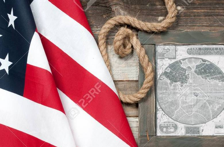 HD Decor Images » Happy Columbus Day  United States Flag  Map Of The American     United States flag  Map of the American continent Stock Photo