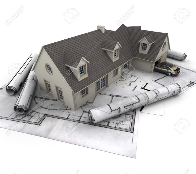 3D Rendering Of A House With Garage On Top Of Blueprints Stock Photo     3D rendering of a house with garage on top of blueprints Stock Photo    16036558