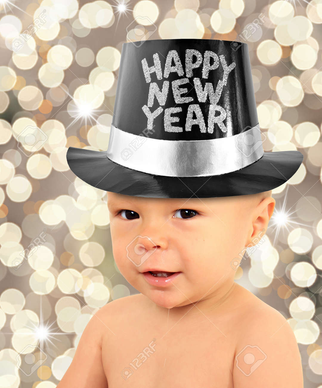 One Year Old Baby Boy Wearing A Happy New Year Top Hat  Stock Photo     One year old baby boy wearing a Happy New Year top hat  Stock Photo