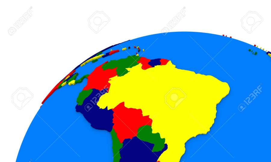 Political Map Of South America On Globe Stock Photo  Picture And     Political map of south America on globe Stock Photo   45394990