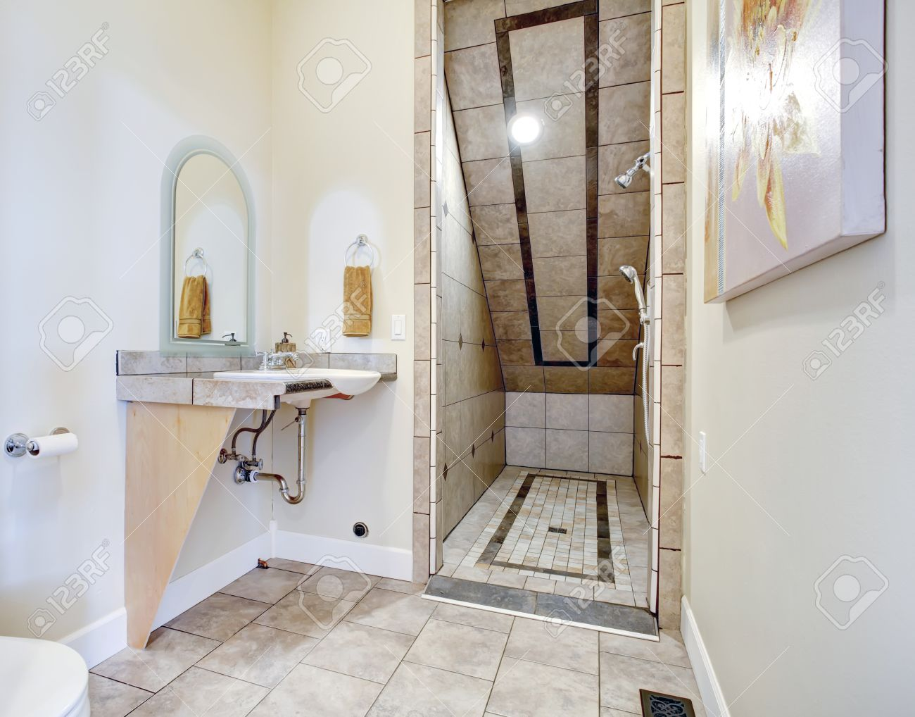 Best Kitchen Gallery: Small Bathroom With Vaulted Ceiling Open Shower Area Tile Trim of Open Showers For Small Bathrooms on rachelxblog.com